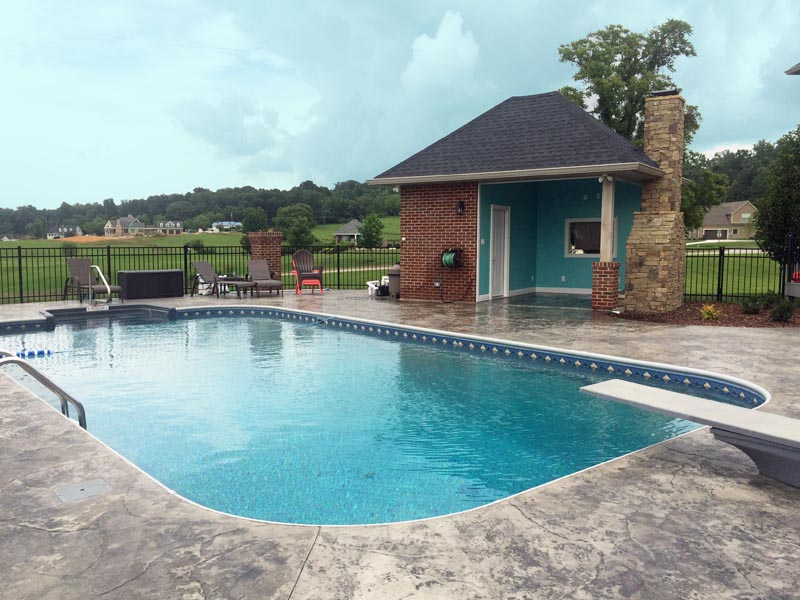 Johnson City Vinyl Liner Pool With Pool Cabana