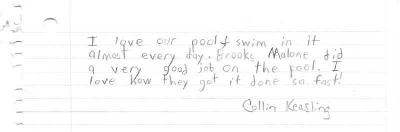 Child's Written Note Appreciating A New Pool Installed By Brooks Malone