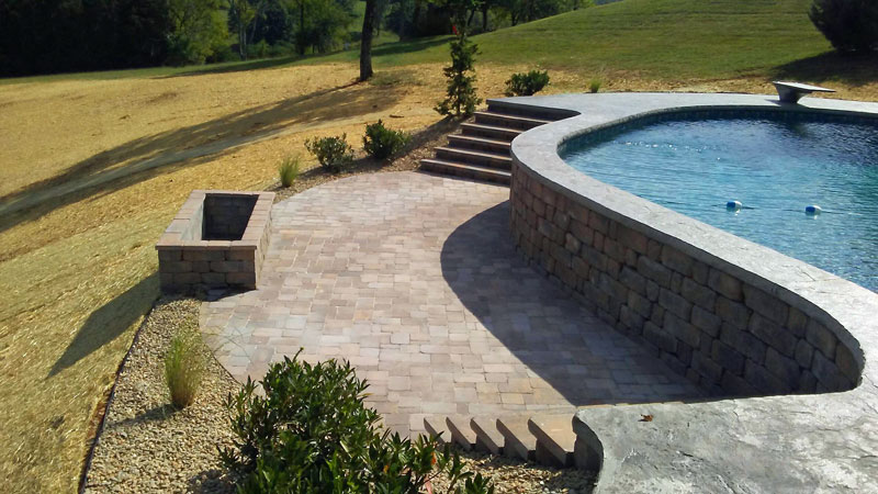 Hilly Tennessee Yard With Terraced Fire Pit Area