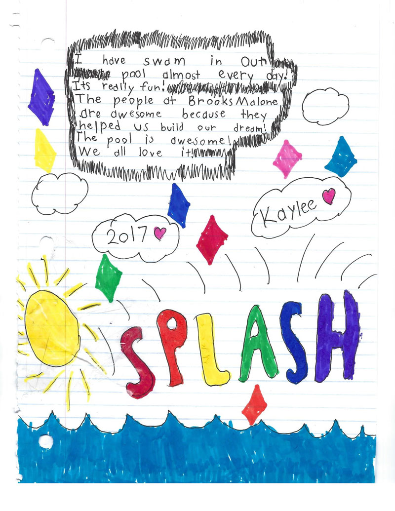 Child's handwritten appreciation note and drawing for a new pool built by Brooks Malone