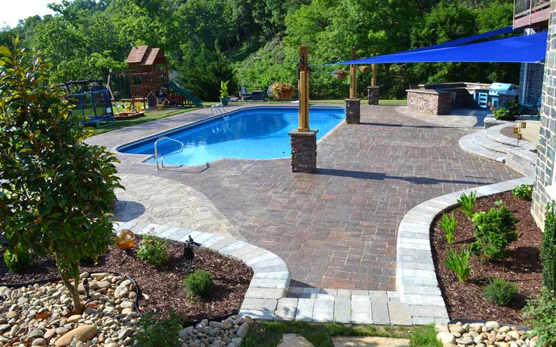 Jonesborough Swimming Pool in Tennessee With Hardscaping
